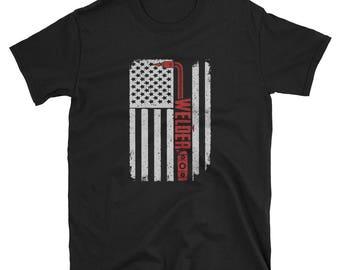 Welder Shirt Gift USA Flag Tee