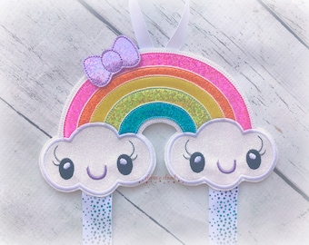 Rainbow bow holder Kawaii Rainbow Bow Holder for Hair Clips/ Pins OR Headbands Choose Your Style
