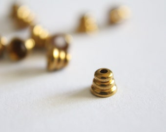 Brass beehive bead caps spacers 4mm (12)