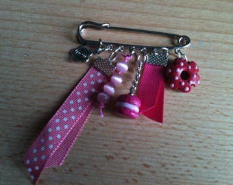 Brooch with pink polymer clay charms