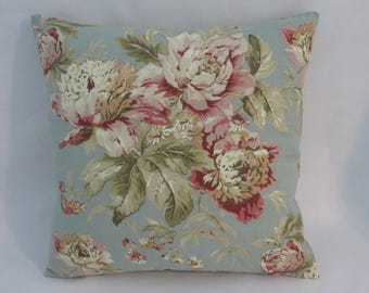 "Blue and Pink Floral Pillow Cover, Waverly Fleuretta in Mist, Robins Egg, Vintage Look, 17"" Cotton Square, Ready Ship"