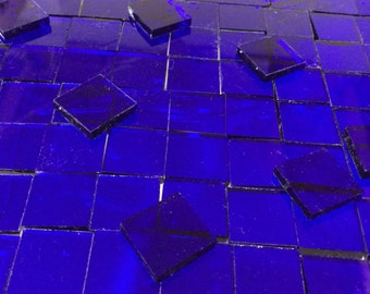 """100 1/4"""" COBALT BLUE CATHEDRAL Transparent Tiny Tile Stained Glass T10"""