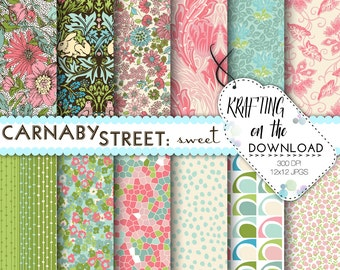 shabby chic floral digital paper pack pink and mint blush pink pastel floral vintage floral paper cottage chic paper liberty floral download