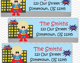 Superman - Superhero - Personalized Address labels, Stickers, Baby Shower, Birthday