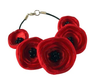 Hübsche roten Stoff Mohn Armband