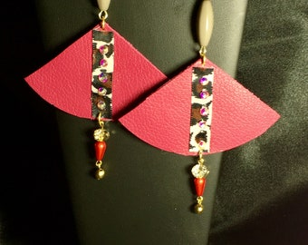 Colorful leather earrings statement earrings