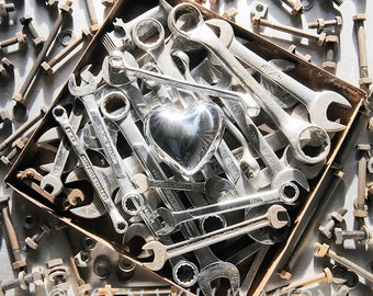 Photo card, Steel Heart, Spanners, Wrenches, Nuts and Bolts, Greeting card, Square, blank inside for your message
