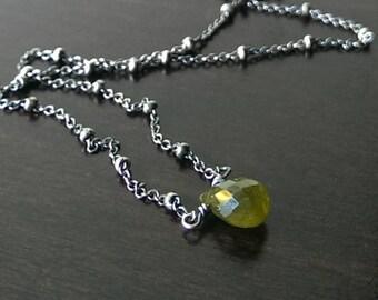 Green garnet necklace - dainty necklace - birthstone necklace - delicate necklace - gemstone necklace - minimal necklace - boho necklace