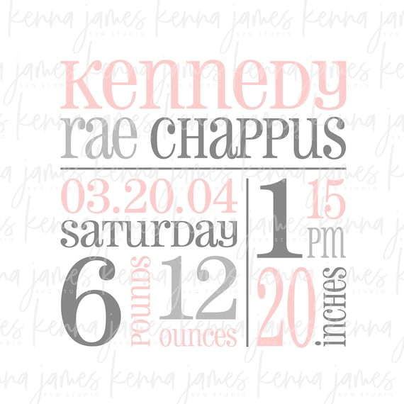 Birth Announcement Template Svg Birth Announcement Svg