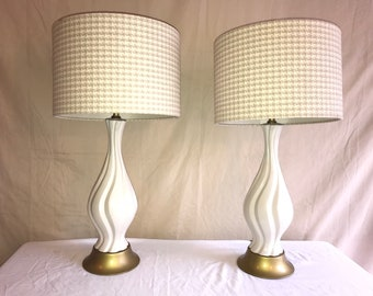 White ceramic lamps with brass base, tan and white shades