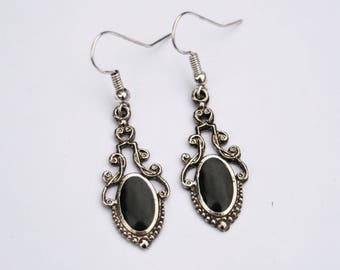 Pretty Enameled Silver Drop Earrings // Black Enameled Earrings // 70's Vintage Dangly Ladies Earrings // Made in England