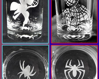 Custom Etched - Spider-Gwen and Spider-Man SET (2) 14oz Tumblers!