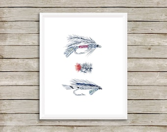 Fly Fishing No.1111 Print, Hooks, Hunting and Fishing Decor, Fishing Art, Fishing Print, Hunting, Watercolor print,