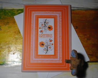 Greetings, Greeting Card, Blank Inside, Flower Card for Friends, Cards for All Occasions