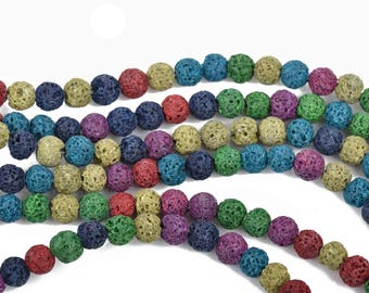 6mm LAVA Beads, Mixed Colors, Aromatherapy Beads, Perfume Diffuser Beads, Essential Oil Beads, full strand, about 60 beads, glv0026