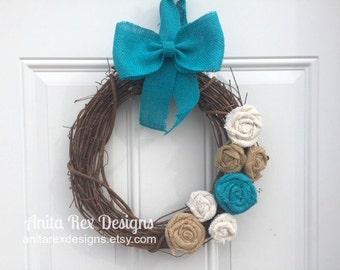 Rustic Burlap Wreath, Teal Burlap Flowers, Grapeine Wreath, Wreath, Spring Wreath