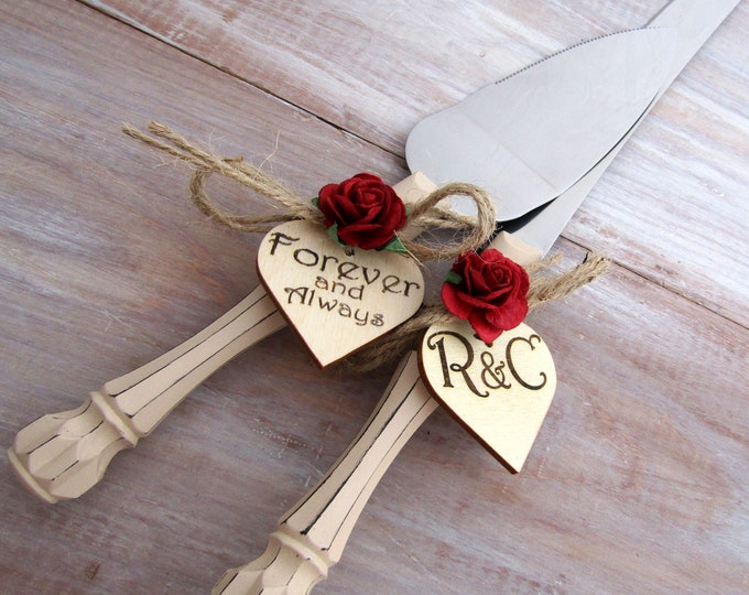 Rustic Chic Wedding Cake Server And Knife Set, Tan Handle Burgundy Flower, Personalized Wood Hearts, Bridal Shower Gift, Wedding Gift