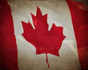 Vintage Canadian Flag , Photo Print, Boys Room decor, Boys Nursery Prints, Wall Art