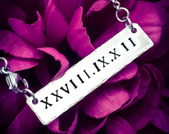 Personalised Roman Numerals Hand Stamped Necklace. Date Necklace, Roman Numeral Necklace, Roman Numeral Jewellery, Anniversary Gift, Wedding