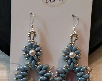 Handmade Beaded Summer Daze Earrings made with Superduo, Seed and Drop Beads-Blue Luster