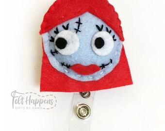 Sally Badge Reel, Nightmare Before Christmas, Handmade Felt Pin, ID Felt Badge Holder, Retractable, Gift By Hand