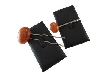 Dark Orange Hair Fork and Bobby Pin Set, Marbled Stone Hair Bun Accessories Natural Rock Hairpin Set, Orange Cabochon Stone Hair Accessory