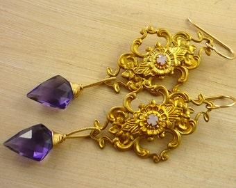 Vintage gold filigee & fancy purple quartz briolette gold filled chandelier earrings.