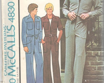 McCalls 4830 1970s Mens Straight Leg Zip Front Jumpsuit Pattern for Knits Denim Chino Adult Vintage Sewing Pattern Chest 44 Or 46