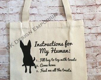 Dog Instructions Grocery Bag - Canvas Tote Bag - Funny Market Bag - Reusable Grocery Shopping Bag - Shopping Bag - Eco-Friendly Bag