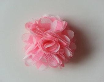 fleur  mousseline rose et blanche   50mm