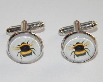 Bee cufflinks, Bee jewelry, Bumblebee Honey Bee cufflinks, Wedding cufflinks, groomsmen cufflinks, gift for him