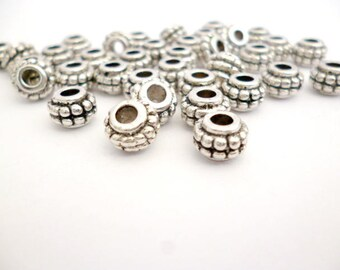Solid Silver Tone Metal Beads_NAC54000845/3270_Large hole Silver Beads/ GRAN / Of 7x5 mm hole 3 mm pack 30 pcs