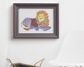 lion// lion print//nursery// lion art// giclee //  13 x 19, 11 x 14, 8.5 x 11, 8 x 10, 5 x 7