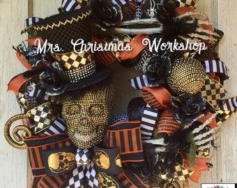 Skull wreath, Halloween wreath, skeleton wreath deco mesh wreath