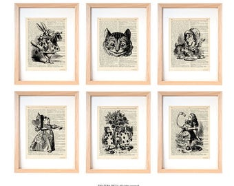 Alice in wonderland print-Alice set of 6 prints-Alice dictionary print-children wall art-alice-nursery print-dorm decor-christmas gift-DP227