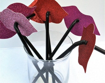 Lips and Mustaches on a Flexible Straw Party Favor Set Assorted Styles