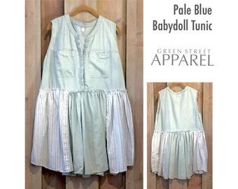 Babydoll Tunic, Upcycled Clothing, Pale Blue, Loose Bottom Tunic, Refashioned Clothing, Sleeveless Tunic, Lightweight Tunic, Tattered Tunic