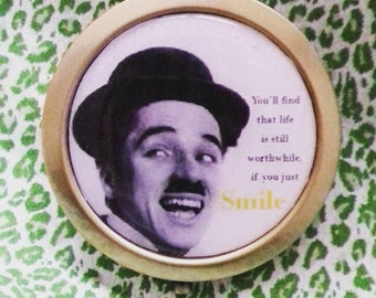 Charlie Chaplin 'Smile' bronze compact mirror