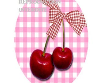 30x40mm, lovely cherry cabochons and gingham bow