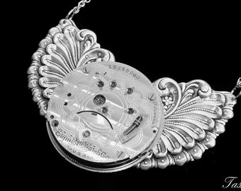 Steampunk Statement Necklace, Wing Necklace, Art Deco Silver Antique Pocket Watch Jewelry