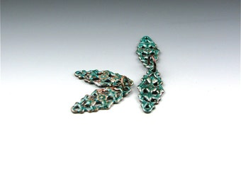Enameled Victorian Filigree / Teal Enamel / Made to order