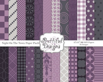 Purple and Gray Digital Paper Pack Commercial Use Scrapbook Paper