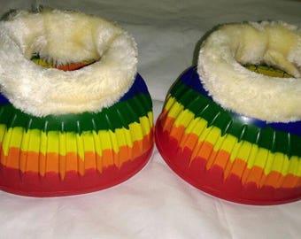 Rainbow unicorn faux fleece lined rubber over reach boots multi colour pony-cob-full