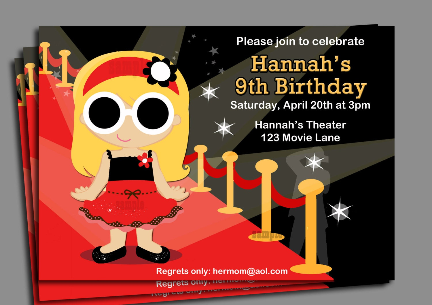 Red Carpet Party Invitation or Printed with