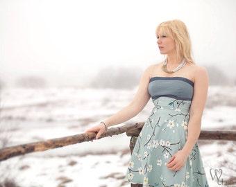 DEANNA _ Dress with cherry blossoms, wedding dress, taupe, blue, smoke blue, Japan, wedding, bridal, flowers, bridesmaid, prom