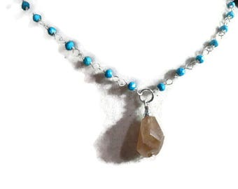 Turquoise Necklace - Jasper Gemstone Pendant - Sterling Silver Jewelry - Classic Jewellery - Brown