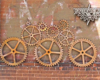 Large Wood Gear Set Faux Iron Gears Sprocket Pulley Steampunk Industrial Art