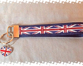 1 Inch Wide British Theme Grosgrain Pattern Key Fob with Charm
