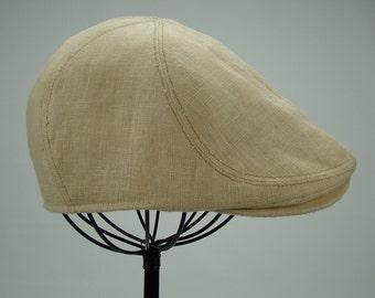 6-Panel Handmade Linen Flat Cap Driving Cap for Men in Wheat - Custom Hats