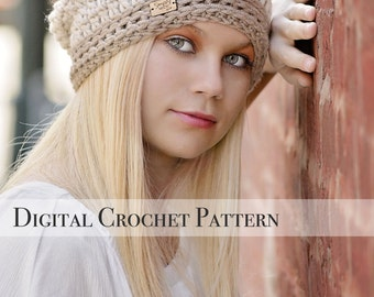 Crochet Pattern / Signature Slouchy Hat Pattern 038 / Crochet Hat Pattern / Womens Slouchy Hat  / Slouchy Beanie / Fall Fashion / Slouch Hat